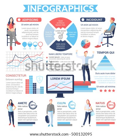 people infographics info poster brochure cover template layout