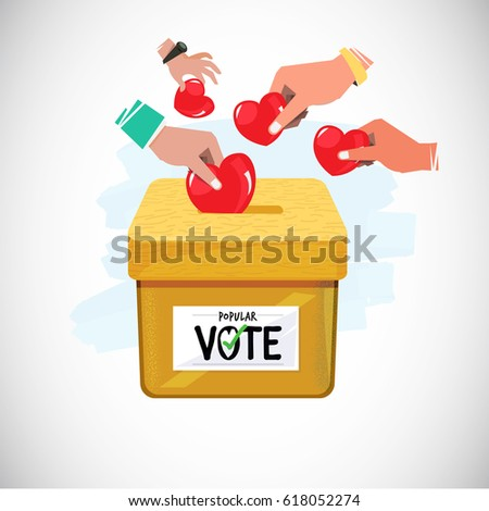 People insert heart in  box . popular vote - vector illustration