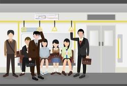 people inside a metro subway train vector
