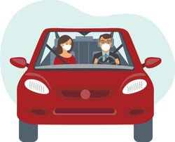People inside the car wearing protective masks. Travel restrictions on coronavirus COVID-19 pandemic concept flat vector illustration