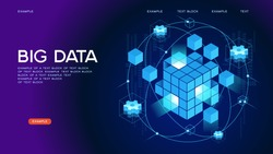 People interacting with big data. Data visualization concept. 3d isometric vector illustration. Page template.