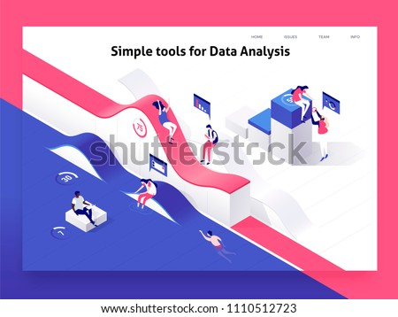 People interacting with charts and analysing statistics and data. Landing page template. 3d isometric vector illustration.