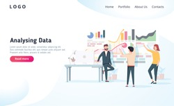 People interacting with charts and analysing statistics. Vector data visualisation concept. Vector illustration. Team analysing tool business concept. Teamwork software for time management interface