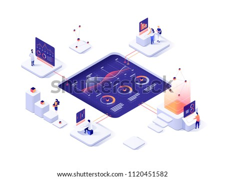 People interacting with charts and analyzing statistics. Data visualization concept. 3d isometric vector illustration. - Shutterstock ID 1120451582