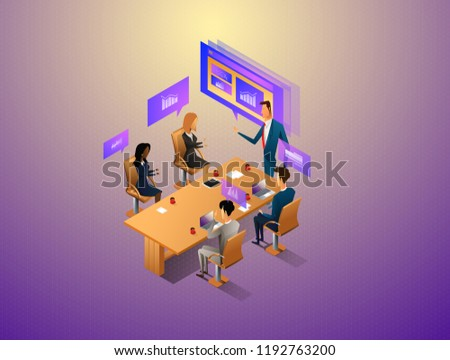 People interacting with graphs and papers while have digital meeting. Workflow and business management. 3D vector isometric illustration.