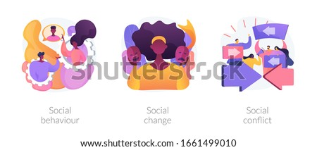 People interaction and communication metaphors. Social behaviour, change and conflict. Arguments, norms in society. Personality influence abstract concept vector illustration set.