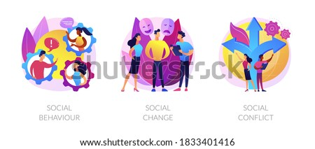 People interaction and communication metaphors. Social behaviour, change and conflict. Arguments, norms in society. Personality influence abstract concept vector illustration set. Photo stock ©