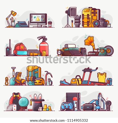 People interests and occupation equipment icons. Hobbies, professions and lifestyles concepts. Design, photography, firefighting, climbing, fitness , VR gaming and magic spot illustrations or banners.