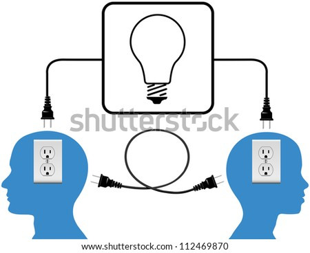 People into high energy connection outlet and light bulb copy spaces