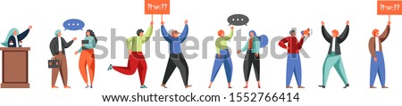 People involved in politics, vector flat isolated illustration. Politician, political candidate, activist, speaker male and female characters. Political meeting, election campaign, debate, protest.