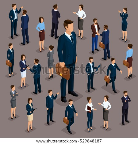 People Isometric 3D, the big boss businessman and business woman, business clothes. The concept of office workers, director and subordinates isolated on a dark