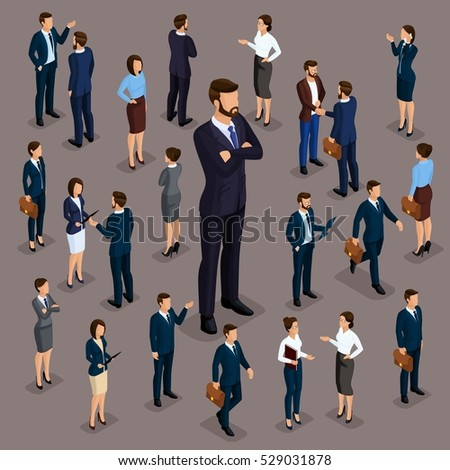 People Isometric 3D, the big boss businessman and business woman, clothes. The concept of office workers, director and subordinates isolated on a dark background of a noble