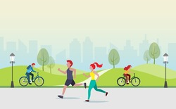 People jogging, cycling, exercising outdoor activities at public park. Idea for fitness, people healthy lifestyle in big city.