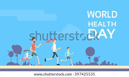 People Jogging Sport Family Fitness Run Training World Health Day 7 April Flat Vector Illustration