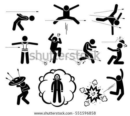 people jumping and evading gun