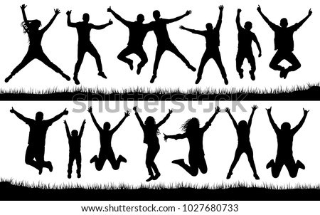 People jumping, friends man and woman set. Cheerful girl and guy silhouette collection vector. Fun Icon