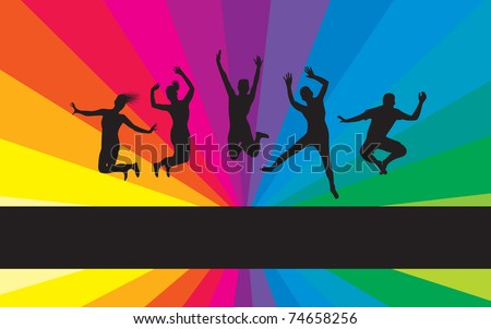 people jumping on a rainbow background