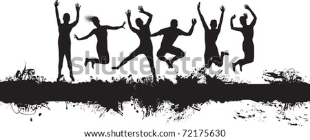 people jumping on a splash banner