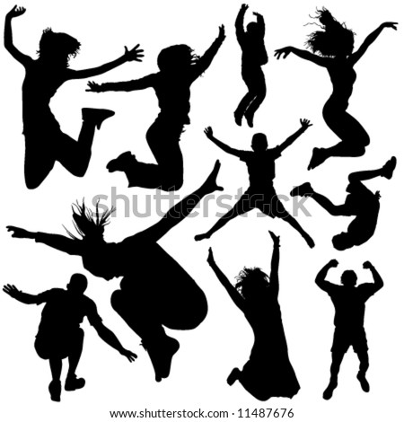 people jumping vector 2