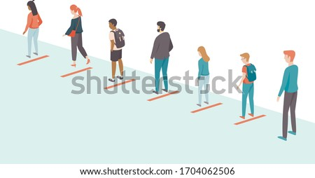 People keeping distance in the queue. Social distancing concept for coronavirus COVID-192019-ncovdisease oubreak. Flat vector illustration Сток-фото ©