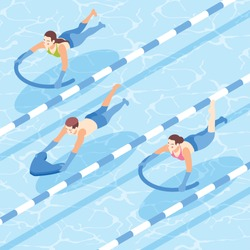 People learning to swim with aid in pool isometric background 3d vector illustration