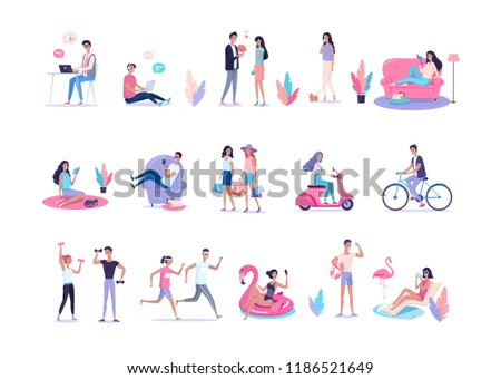 People lifestyle color vector flat illustration set