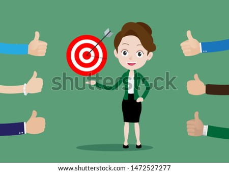 People like and give a thumbs up to a successful business woman achieving her goals, Cartoon vector illustration