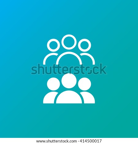 people line icon, leader outline and solid vector illustration, white linear pictogram