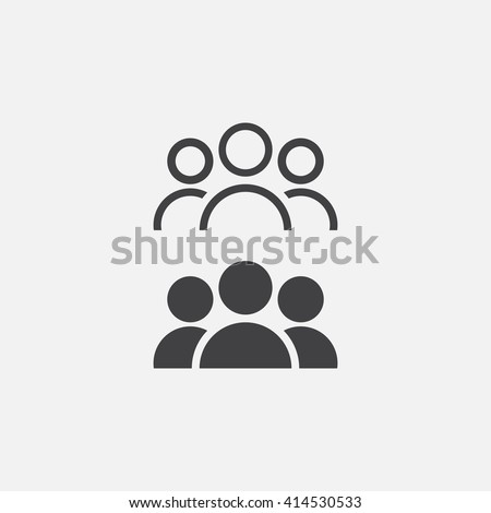 people line icon, outline and solid vector illustration, linear pictogram isolated on gray