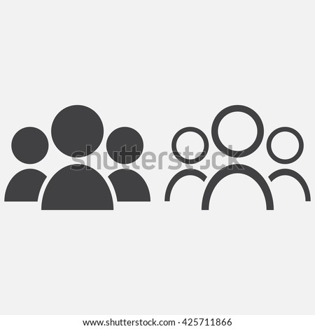 people line icon, outline and solid vector logo, linear pictogram isolated on white, pixel perfect illustration