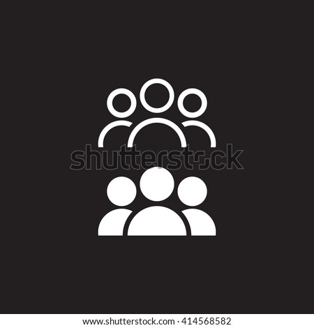 Shutterstock people line icon, persons outline and solid vector illustration, group linear pictogram isolated on black