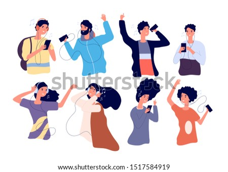 People listen music with earphones. Happy young men and women with headphones and smartphone isolated vector cartoon characters