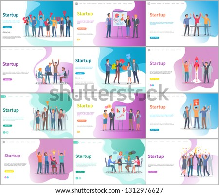 People listening to ideas of entrepreneurs startup vector. Success of project, visualized information on whiteboard, digital technologies, meeting. Website or webpage template, landing page flat style