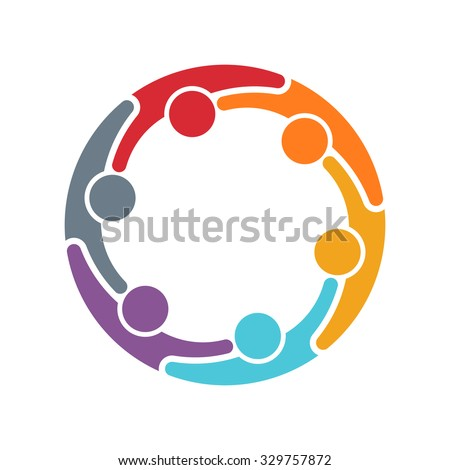 People logo. Group of six persons in circle Foto stock ©
