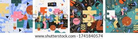 People looking for creative solutions and teamwork. Modern vector illustration of people assembling a puzzle. Drawing business, marketing, finance and cooperation for website, poster,  or booklet