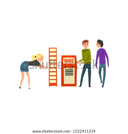 People looking to advertise on commercial promotional stands, male advertiser character promoting advertisement vector Illustration on a white background