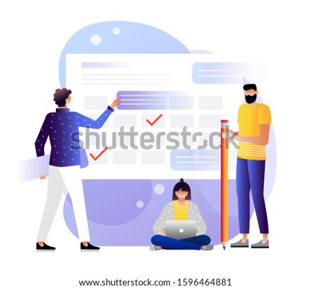 People make an online schedule in the tablet. design business graphics tasks scheduling on a week. Vector illustration with characters