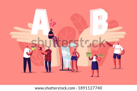 People Make Important Decision. Tiny Male and Female Characters at Huge Hands with A and B Comparison, Choice, Pros and Cons Concept. Choose Advantages and Disadvantages. Cartoon Vector Illustration