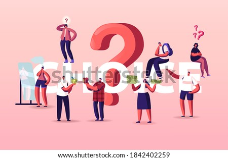 People Making Choice Concept. Doubtful Tiny Characters Thinking Under Huge Question Mark. Doubts and Confusion, Solving Problem, Searching Solution Poster Banner Flyer. Cartoon Vector Illustration