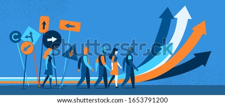 People making decision what path, direction to take. Arrows, road signs pointing in different directions - Vector illustration
