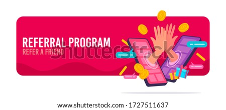 People making money from referral. Refer a friend or Referral marketing concept. Social media marketing for friends. Vector illustration