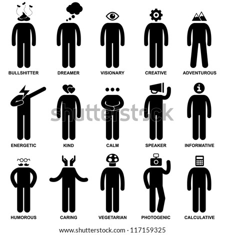 Stock Vector People Man Characteristic Behaviour Mind Attitude Identity Stick Figure Pictogram Icon on the light box