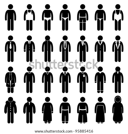 People Man Male Fashion Wear Clothing Icon Symbol Sign Pictogram