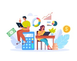 People man woman characters planning and counting money income budget. Accounting bookkeeping abstract concept. Vector flat graphic design illustration