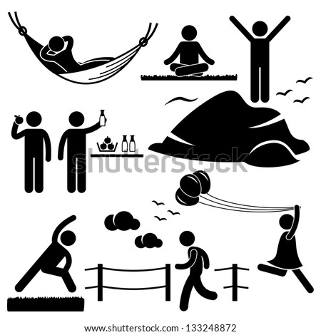 People Man Woman Healthy Living Relaxing Wellness Lifestyle Stick Figure Pictogram Icon