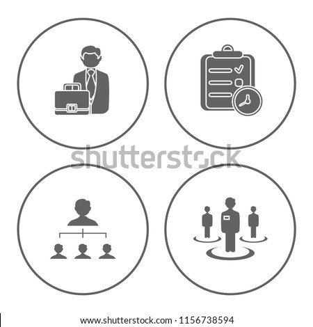 people management icons set - human resources - vector office job team