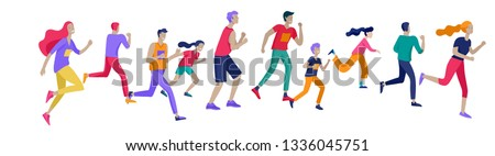 People Marathon Running Sport race sprint, concept illustration running men and women wearing sportswer in landscape. Jogging at Training. Healthy Active Speed Exercise. Cartoon Vector Illustration