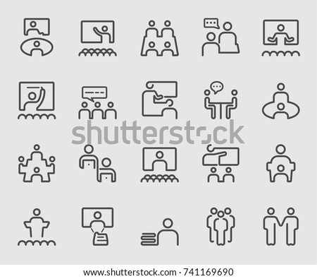 People meeting and Teamwork outline icon