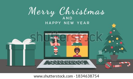 people meeting online together via video calling on a laptop to virtual discussion on Christmas holiday with Merry Christmas and happy new year text, office desk workplace, flat vector illustration