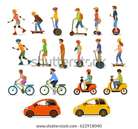 People, men and women riding modern electric scooter, car, bicycle, skateboard, segway, hoverboard. Personal eco friendly alternative transportation vehicles set collection